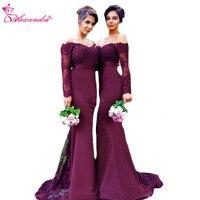 Александра Фиолетовый Русалка платье подружки невесты для свадьбы одежда с длинным рукавом Милая Длинные платье для выпускного вечера веч
