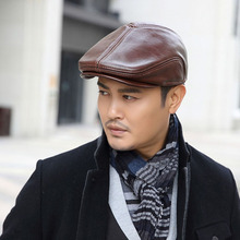 Fibonacci 2017 New Retro Brand Quality Vintage Flat Beret Cowhide Genuine Leather Solid Newsboy Hat For Men Caps