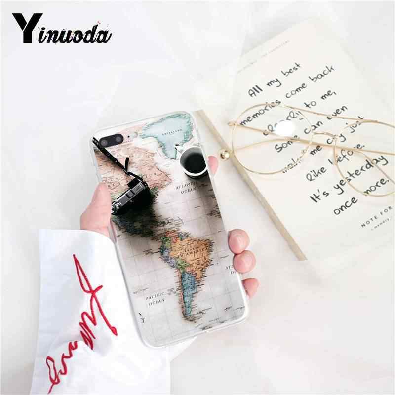 Yinuoda карта мира план путешествия ТПУ Мягкий силиконовый чехол для телефона iPhone 5 5Sx 6 7 7 plus 8 8 Plus X XS MAX XR Fundas Capa