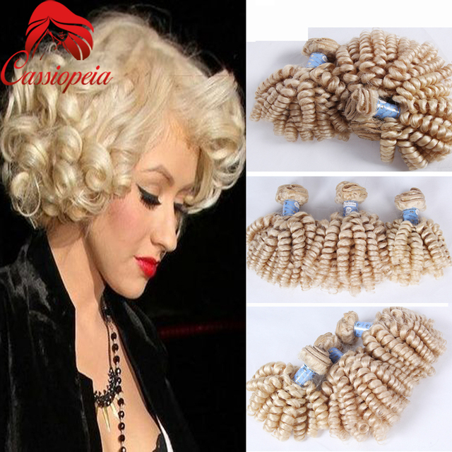 Blonde Bouncy Curly Human Hair Weaves Short Brazilian Human Hair Color 613   Blonde Curly Human Hair Extensions For Sale 3pcs lot 34bcd64ba