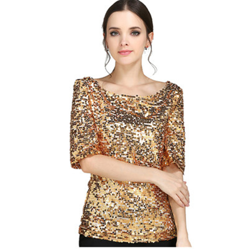 Explosion Models Fashion Sequin Embroidery Sleeves Single Collar Loose Casual Womens Shirt Multi-code Multi-color