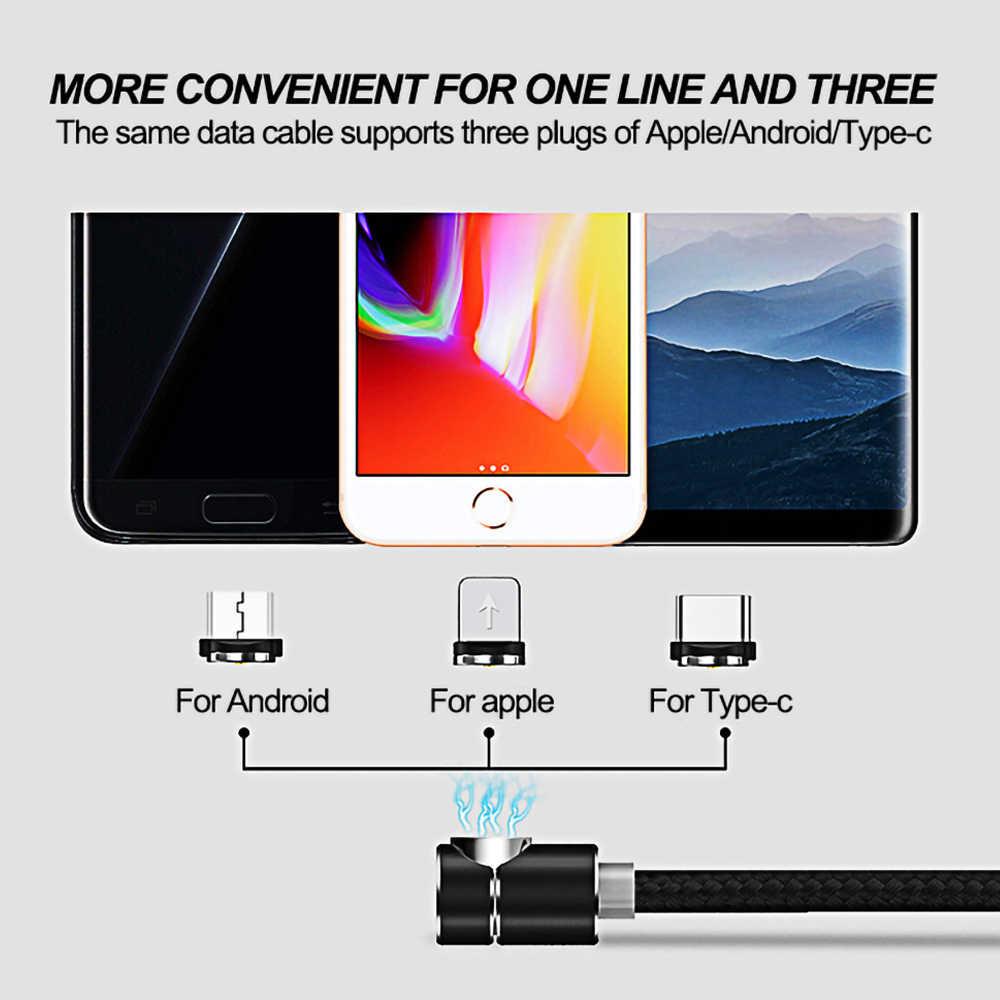 1M 2M 90 Gradi USB Magnetico Cavo di Ricarica Per iphone X XR XS 6 7 8 Più LED USB di Tipo C C Cavo Per Android Micro USB Charger