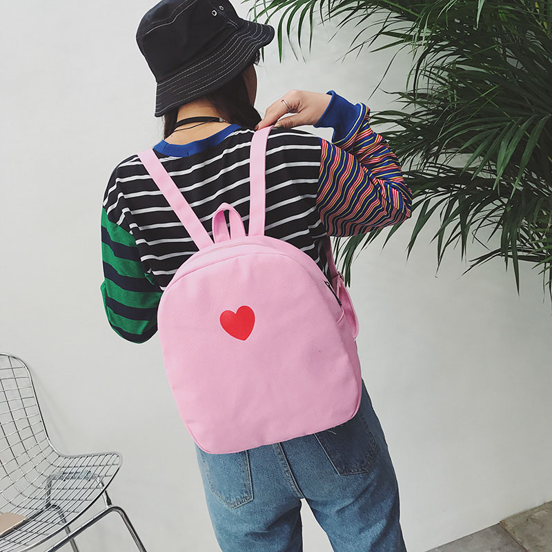 Cute Women Mini Canvas Backpack Sweet Love Heart Rucksack For Teenager Traveling School Bags Wml99