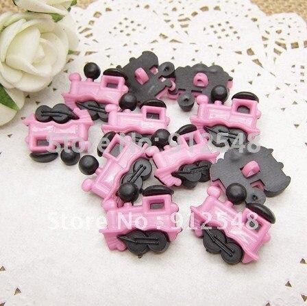 100pcs pink Train plastic buttons flower buttons for children garment ,hc004