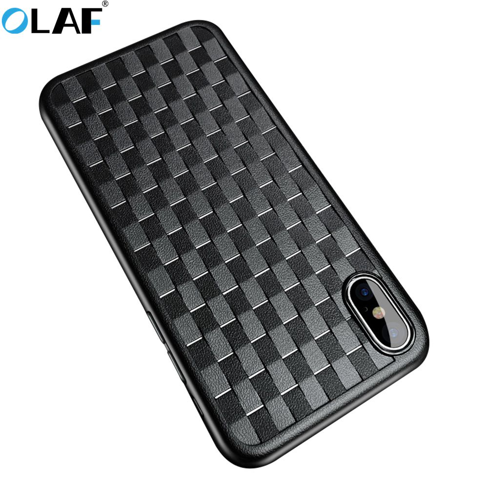 Olaf Luxury Grid Case For iPhone 6 6S iPhone 7 8 Plus Ultra Thin Silicon Capinhas For IPhone X 6 6s Phone Cases Accessories