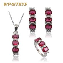 Light Red Stones White CZ Silver Color Jewelry Sets For Women Hoop Earrings/Ring/Pendant/Neklace Free Gift Box WPAITKYS(China)