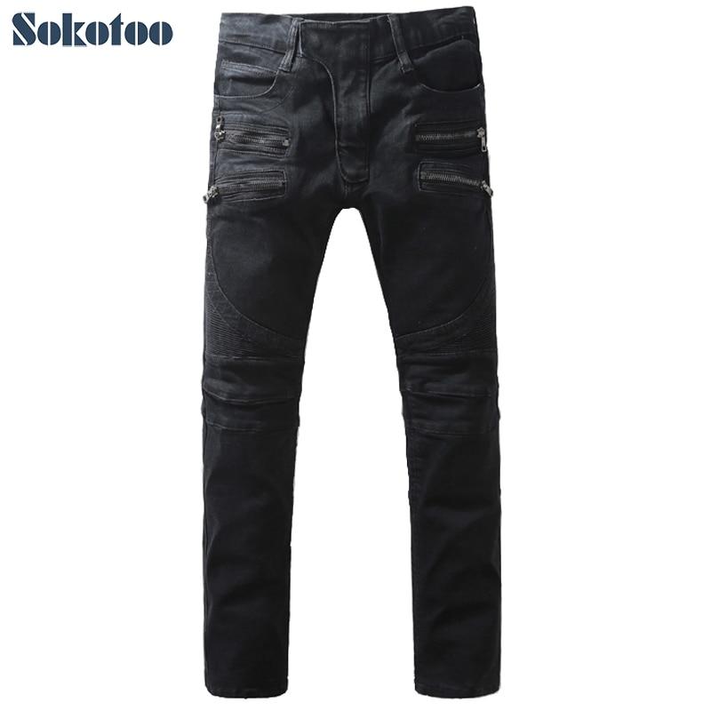 Sokotoo Men's black double zippers denim biker jeans Fashion slim pencil pants Long trousers double black бермуды