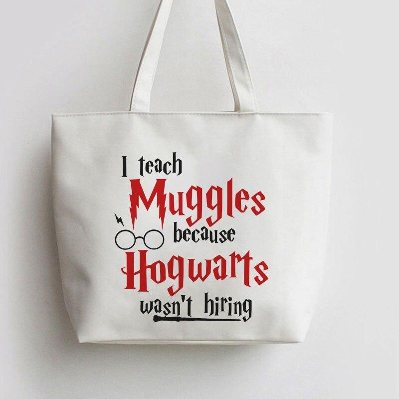 I Teach Muggles Because Hogwarts Wasn't Hiring Anime Canvas Tote bags Cartoon Shopping bag Shopper Grocery Bag GA544