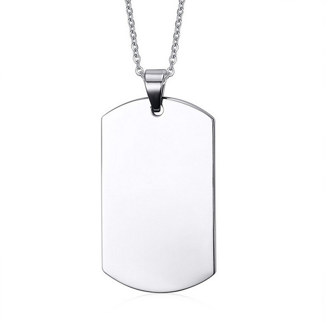 stainless steel silver blank dog tag pendant husband wife friendship