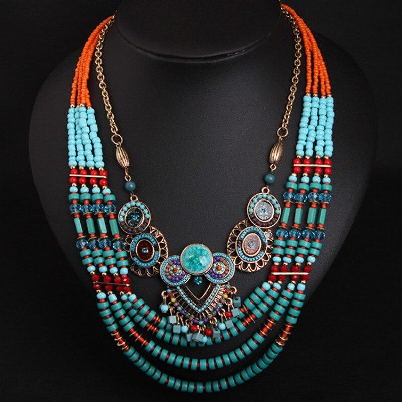 La nueva vendimia hecha a mano con cuentas collares étnicos Boho Bohemia Crystal clavícula collar mujeres accesorios joyería Dropshipping