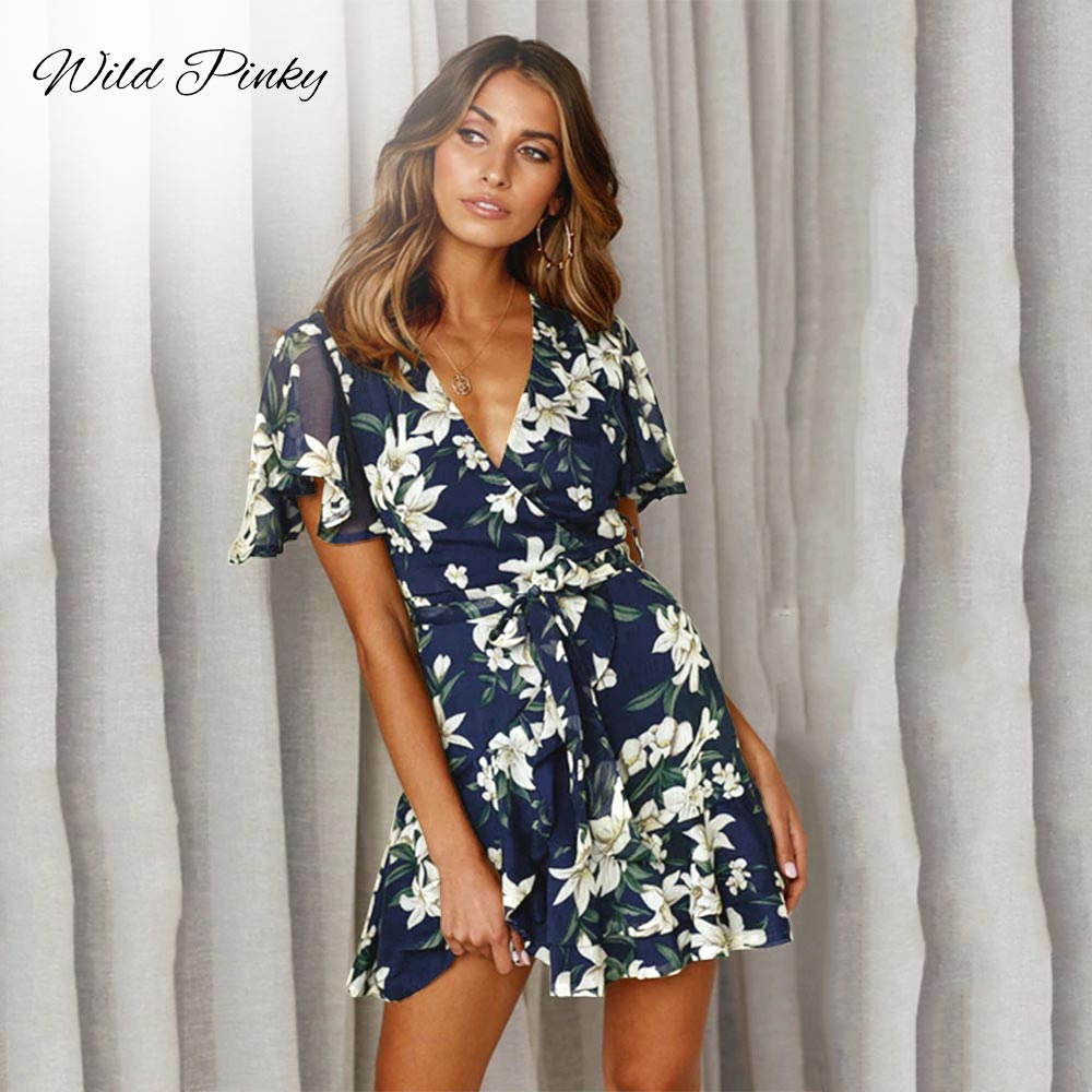 WildPinky Women Dress 2019 Summer Sexy V-neck Floral Print Ruffles Chiffon Dress Boho Style Short Party Beach Dresses Vestidos