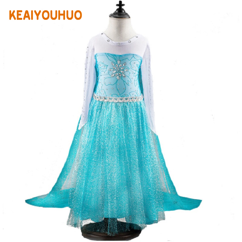 Christmas High quality New elsa anna dress baby girls Cosplay Costume princess Kids clotas dress sequined cartoon costume christmas cosplay costume lace up velvet cami dress
