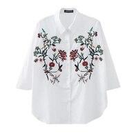 Summer White Women Elegant Flower Embroidery Loose Blouses Long Sleeve White Shirts Ladies Work Office Wear