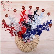 20Pieces Floral Venise Lace Applique Bridal Trim DIY Material Sewing Accessories Wholesale 34X11cm Black White Sapphire