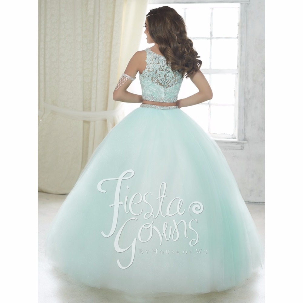 Elegant baby blue two piece quinceanera dresses 2016 ball gown ...