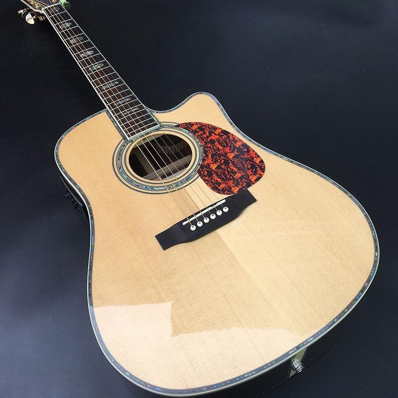 Fábrica personalizada 41 ''45 D 20 frets incrustaciones de perlas y guitarra acústica de encuadernación con EQ, borde de carcasa coloreado envío gratis