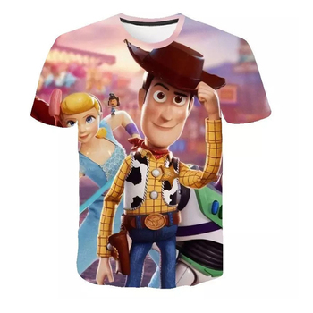 NEW2019 niños y niñas usan Camiseta de manga corta de verano para bebé Linda historieta de juguete Story 3D camiseta estampada 01