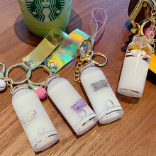 Shaking net red floating milk pig liquid hang key chain marvel sand drift bottle into the oil piglet bag hang girl keychain DIY(China)