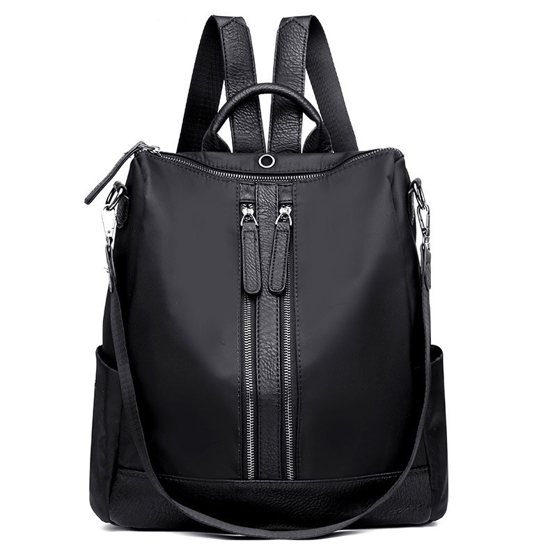 Petrichor Nylon Double Zipper Shoulder Bag & Backpack For Women Black Fashion Female Backpack Ladies Travel Bag Girl School BagPetrichor Nylon Double Zipper Shoulder Bag & Backpack For Women Black Fashion Female Backpack Ladies Travel Bag Girl School Bag