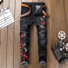 2018 New Men Pencil Slim Jeans Mid Elasticity Skinny Ankle-Length Pants with Embroidery Flower Hip Hop Jeans Homme Trousers