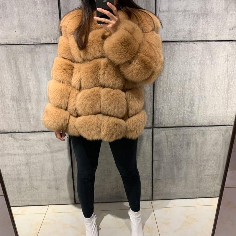 natural fur jacket women real fur jacket fox fur long sleeve jacket