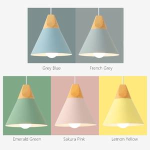 Image 3 - E27 펜 던 트 조명 레스토랑/바 조명 나무 알루미늄 그늘 펜 던 트 램프 전등