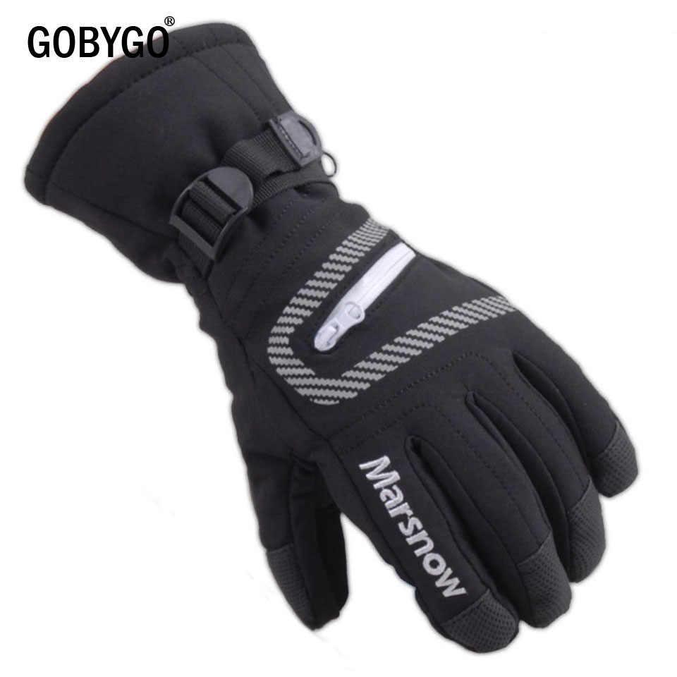 Мужские и женские детские лыжные перчатки GOBYGO, водонепроницаемые теплые велосипедные хоккейные перчатки, зимние спортивные перчатки для катания на лыжах и сноуборде