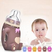 Baby Feeding Bottle 240ML Bear Design Arc Type Water Feeder with Silicone Nipple BM88