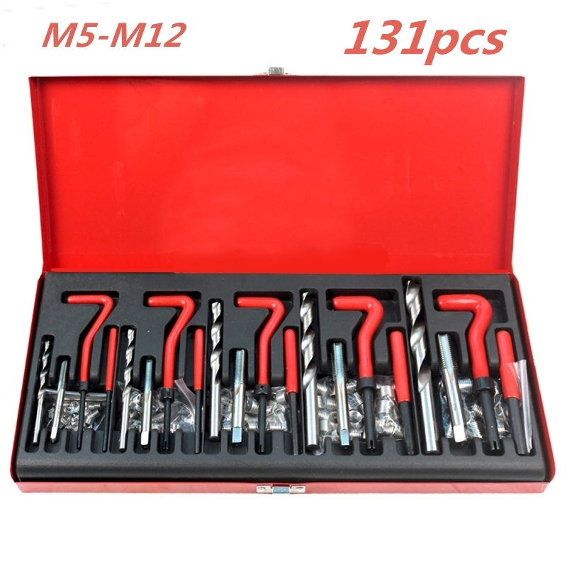 131 Pcs Engine Block Restoring Damaged Thread Repair Tool Kit M5 M6 M8 M10 M12 for Helicoil Car Repair Tools Coarse Crowbar m10 1 5 professional thread repair rethread kit restoring damaged threads