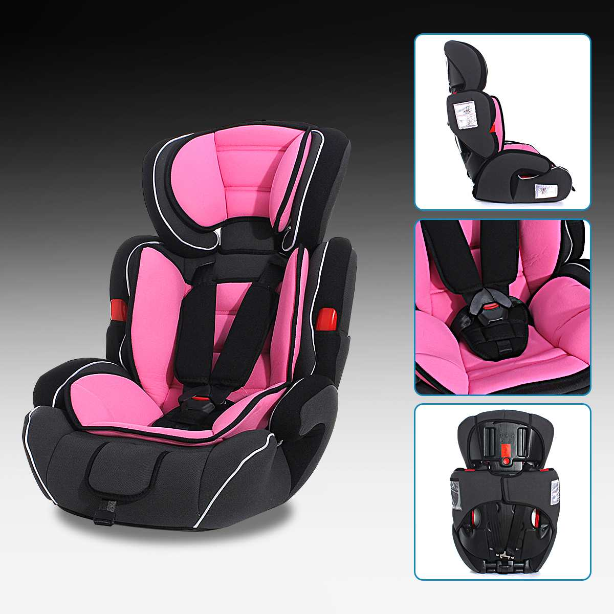 Car Baby Increased Seat Convertible Baby Kids Children Car Seat & Booster For 9 36kg Child Light Pink