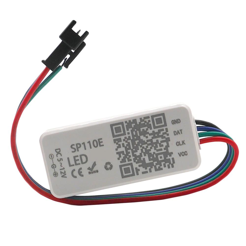 SP110E Bluetooth Controller DC5-12V For WS2812B SK6812 RGB/RGBW Magic Lights LED Pixel Strip iOS/Android App Control 1024 Pixels