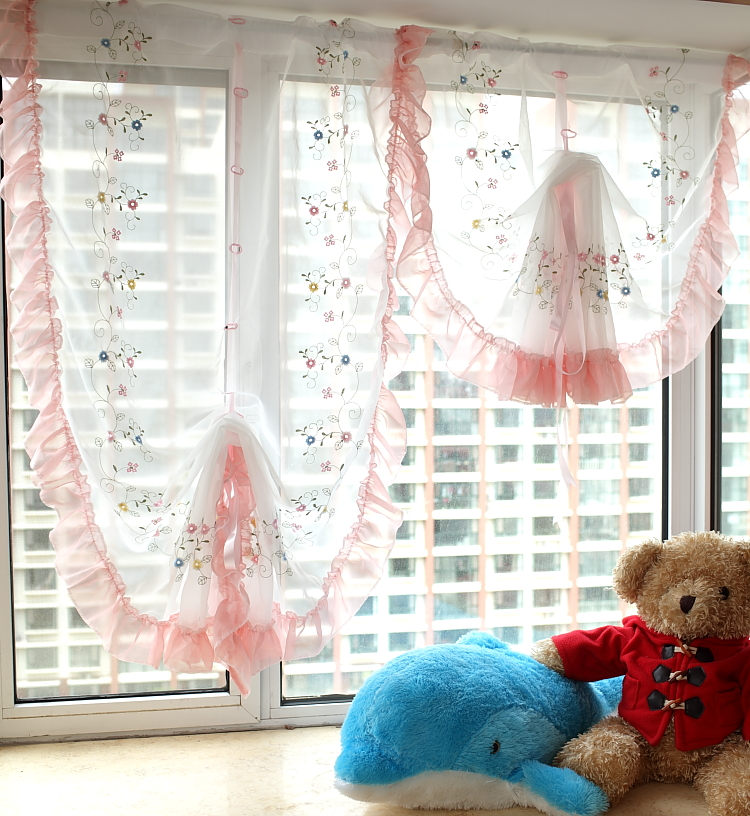 Free shipping pink love garden flounces bay window yarn balloon curtain sector roman blinds for Balloon curtains for living room