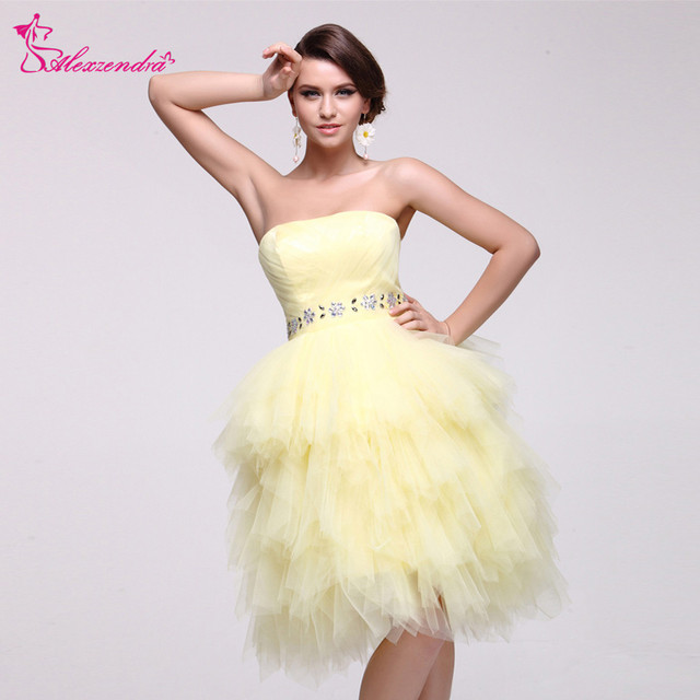 2f4762f653431 Alexzendra A Line Yellow Strapless Knee Length Prom Dresses Beaded Belt  Cute Prom Dress Party Dresses Plus Size