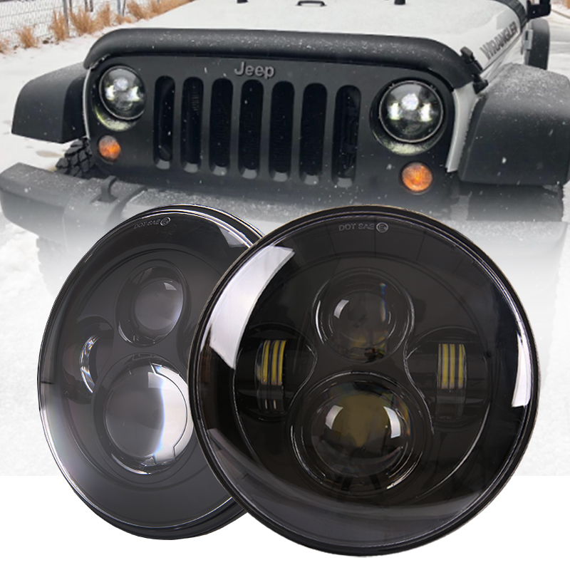 7 Inch Round Led Headlight 12V 24V Auto 50W 30W High-Low Beam DRL for Off Road Toyota Passat Mazda Lada Jeep Car-styling