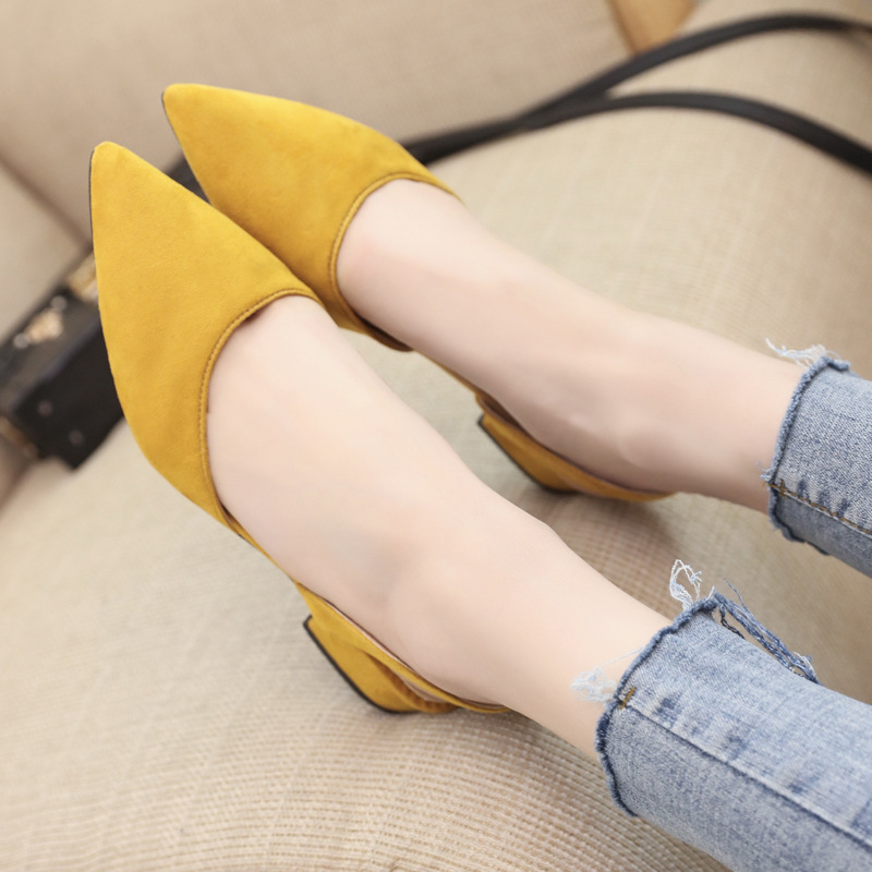 Spring Dress Shoes Women Low Heels Slip On Lady Sandals Flock Candy Color Summer Sandals Women Shoes Pointed Toe Pumps WSH3186 4