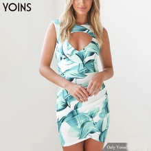 YOINS Summer 2017 New Vintage Women Floral Printed Bodycon Dress Sexy V-neck Sleeveless Wrap Front Mini Dress Zip Back Vestidos