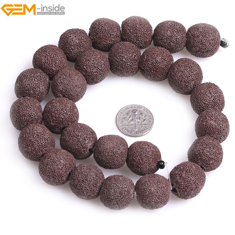 Gem-inside Natural Round Brown lava rock Loose Stone Beads For Jewelry Making Bracelet Necklace Strand 15 DIY Jewellery