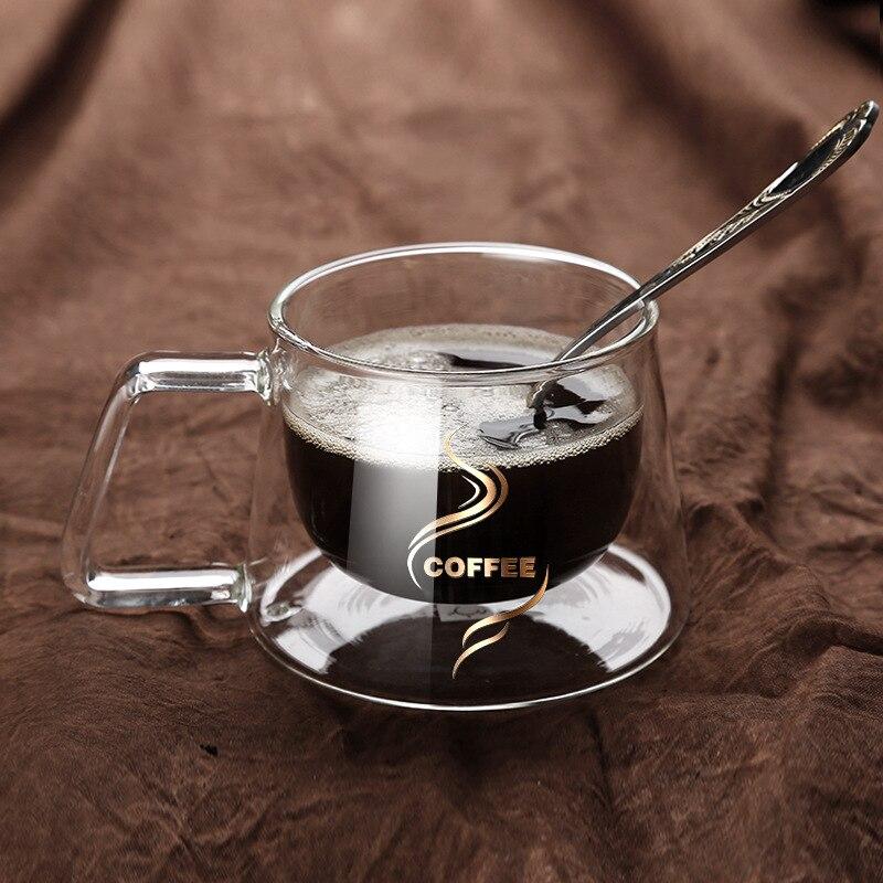 Double Layer Glass Coffee Mug Borosilicate Glass Water