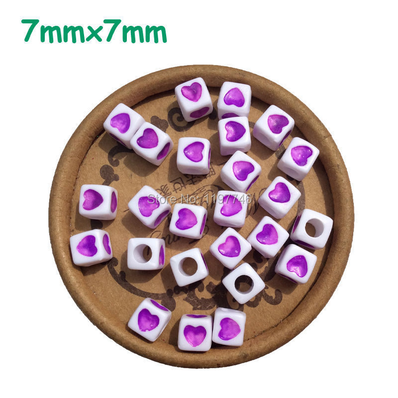 Cube Letter Alphabet Acrylic Loose Beads Purple Red Cube Heart Spacer Beads For DIY Craft Making Jewelry Findings 7x7mm 1900pcs