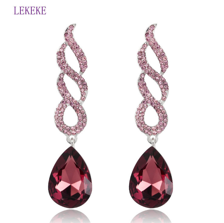 2018 Fashion Fresh Crystal Earring Woman Long Exaggeration Jewelery Women/Grils Pary Dress Accessproes Charming Style Hot Sell