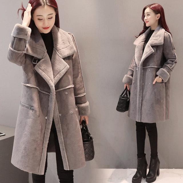 2018 New Lambs Wool Coat Winter Jacket Women Plus Velvet Thicken Long Coat Fashion Parkas Women's Clothing Chaquetas Mujer C3590 2