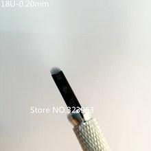 도매 0.20mm 18 U 모양 귀영 나팔 눈썹 바늘 수동 바늘 잎 3D 자수 500pcs 까만 Microblading 잎