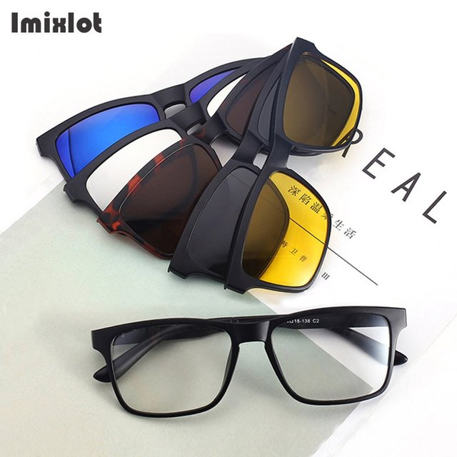 ec5d0f6928e Imixlot 5 Lenes Magnet Sunglasses Clip Magnetic Clip on Sunglasses Men  Polarized Clips Multipurpose Myopia Glasses