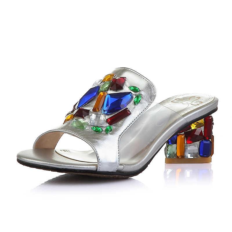 קוריאני סגנון מזדמן נשים קריסטל נעלי אישה קיץ אופנה סקסי Rhinestones נעלי 34-40 SXQ0714