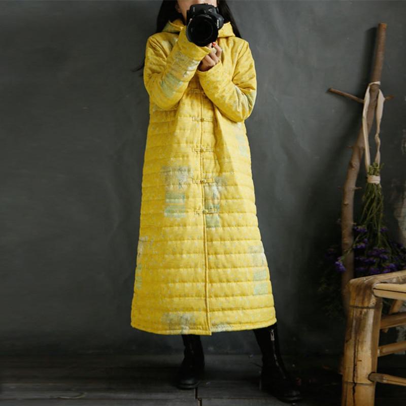 Épaissir Imprimé Boucle Chaud Parckas Plaque Capuchon 2018 Nouveau À Vintage Long Johnature Femmes Manteaux Hiver Floral Jaune Lâche aZXSORtO
