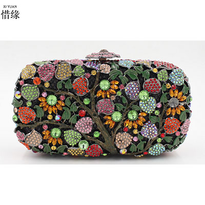 XIYUAN BRAND lady high quality fashion European and American Style floral full diamond crystal Minaudiere Day Clutches purses