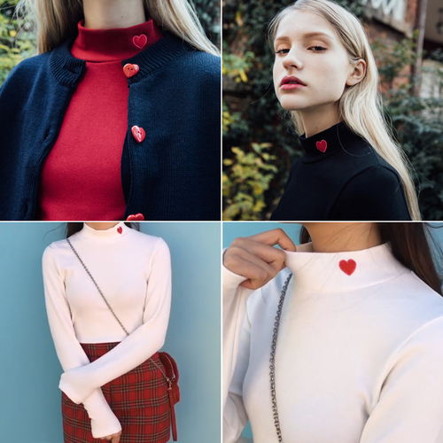 Women Tops 2018 Winter Japanese Vintage Lolita Red Heart Embroidery Turtleneck Long Sleeve T-Shirt 10 Colors Black White T155
