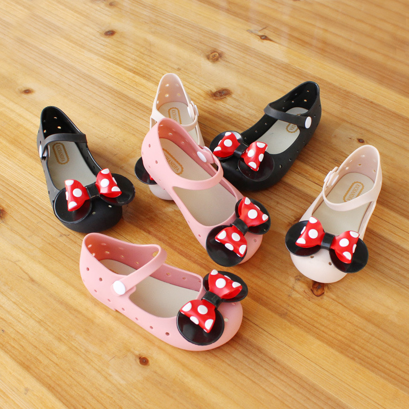 Mini Melissa Jelly Sandals Wave Point Mickey Bow Tie Sandals Girl Fish Mouth Princess Sandals Comfortable Shoes Melissa Shoes