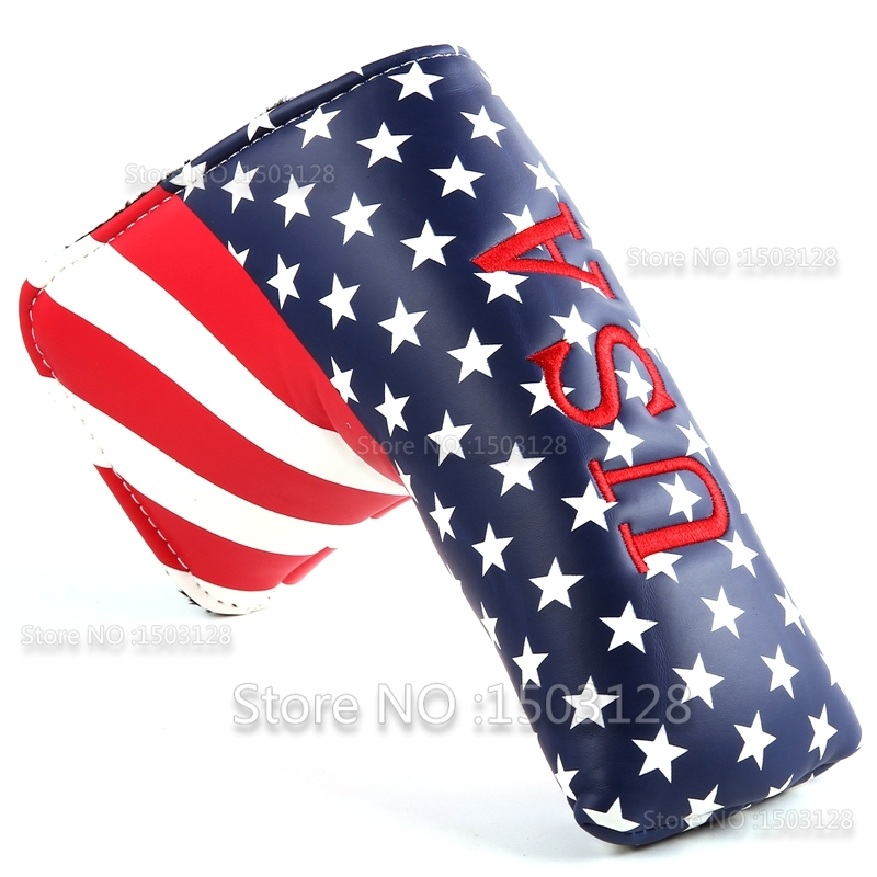 New USA American A.S. Bintang dan Stripes Penutup Golf Headcover Golf Putter Penutup Berwarna-warni untuk Blade Golf Putter