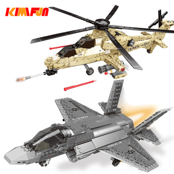600pcs+ F35 Fighter Assemble Airplane Model Bricks Toys Building block Tool Sets Combat Aircraft Compatible with Blocks 1